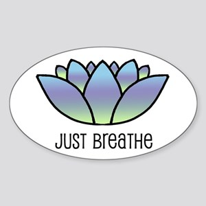 Just Breathe Oval Sticker