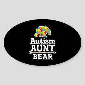 Autism Aunt Bear Sticker (Oval)