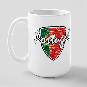 Portuguese distressed Flag Large Mug