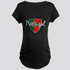 Portuguese distressed Flag Maternity Dark T-Shirt