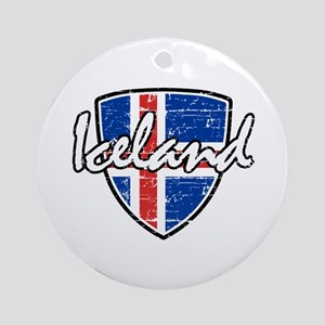 Iceland distressed Flag Ornament (Round)