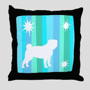 Mod Stripes Pug Throw Pillow