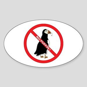 No Puffin Oval Sticker