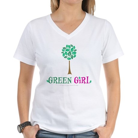 Green Girl Women's V-Neck T-Shirt