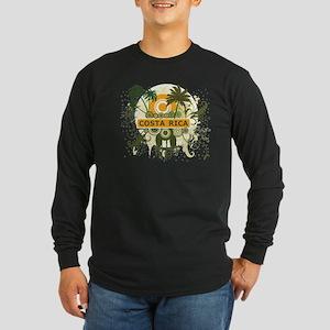 Palm Tree Costa Rica Long Sleeve Dark T-Shirt