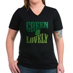 Earth Day : Green & Lovely Women's V-Neck Dark T-S