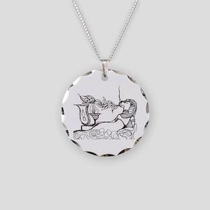 Smoking Sekhmet Necklace Circle Charm