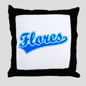 Retro Flores (Blue) Throw Pillow