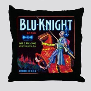 Blue Knight Throw Pillow