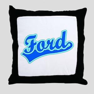 Retro Ford (Blue) Throw Pillow