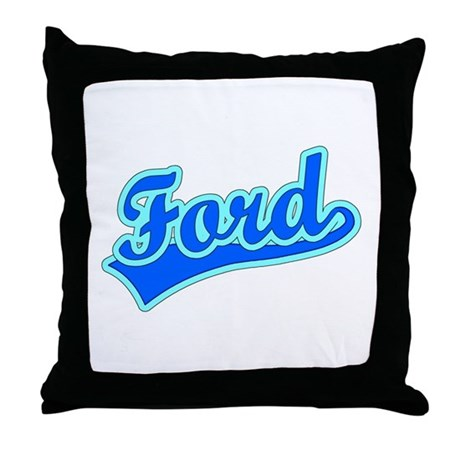 Retro Ford (Blue) Throw Pillow