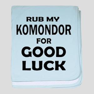 Rub My Komondor Dog For Good Luck baby blanket