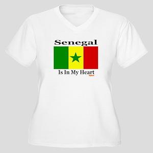 Senegal - Heart Women's Plus Size V-Neck T-Shirt
