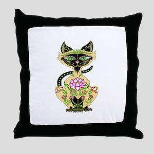 Siamese Cat Sugar Skull Throw Pillow