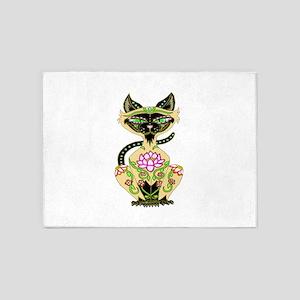 Siamese Cat Sugar Skull 5'x7'Area Rug