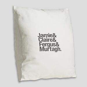 Jamie & Claire & Fergus & Murt Burlap Throw Pillow