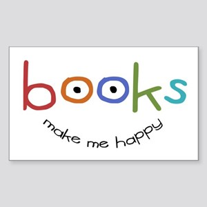 Books Make Me Happy Rectangle Sticker