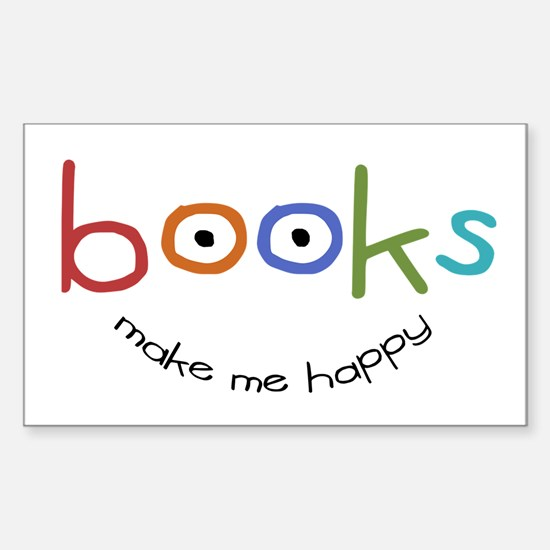 Books Make Me Happy Rectangle Decal