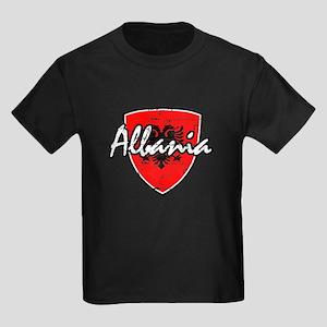 Albanian distressed Flag Kids Dark T-Shirt