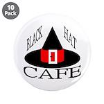 "Black Hat Cafe 3.5"" Button (10 pack)"