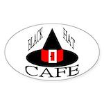 Black Hat Cafe Oval Sticker (50 pk)