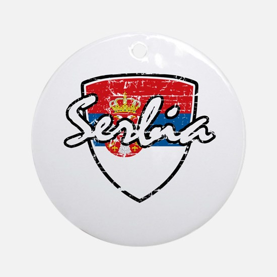 Serbia distressed flag Ornament (Round)