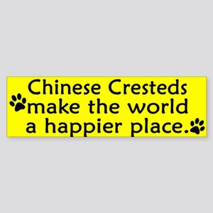 Happy Place Chinese Crested Bumper Sticker