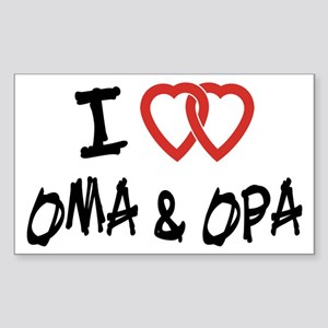 I Love Oma and Opa Rectangle Sticker