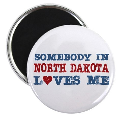 "Somebody in North Dakota Loves Me 2.25"" Magnet (10"