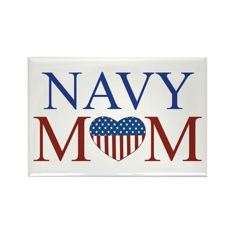 Patriotic Navy Mom Rectangle Magnet (100 pack)