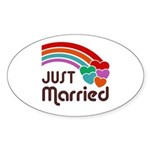 Just Married Oval Sticker