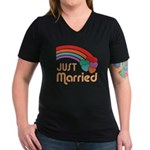 Just Married Women's V-Neck Dark T-Shirt