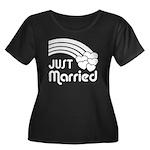 Just Married Women's Plus Size Scoop Neck Dark T-S