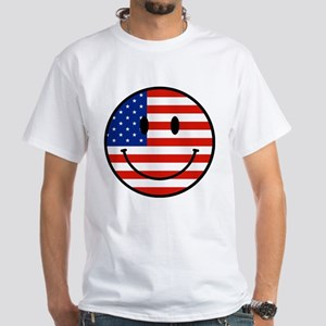 Patriotic Smiley Face White T-Shirt