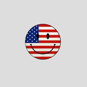 Patriotic Smiley Face Mini Button