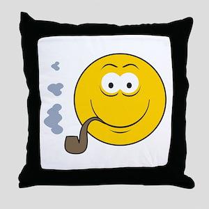 Pipe Smoking Smiley Face Throw Pillow