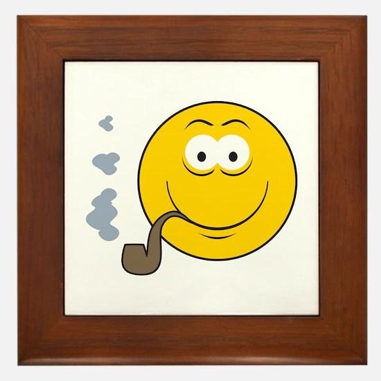 Pipe Smoking Smiley Face Framed Tile