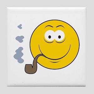Pipe Smoking Smiley Face Tile Coaster