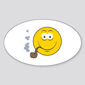 Pipe Smoking Smiley Face Oval Sticker