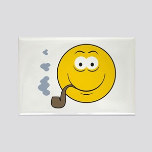 Pipe Smoking Smiley Face Rectangle Magnet