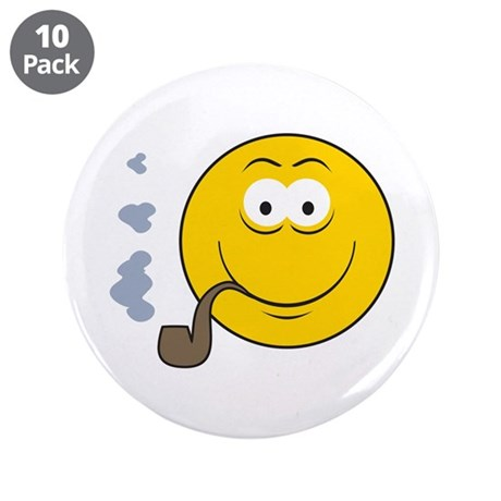 """Pipe Smoking Smiley Face 3.5"""" Button (10 pack)"""