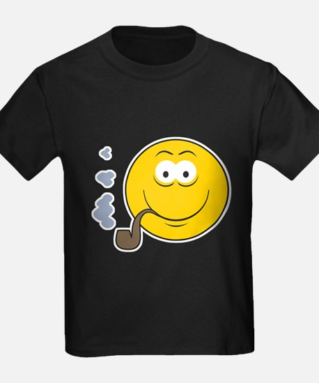 Pipe Smoking Smiley Face T