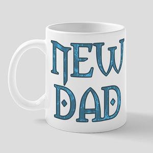 Blue Carved New Dad Mug