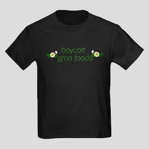 Boycott GMO Foods Kids Dark T-Shirt