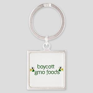 Boycott GMO Foods Square Keychain