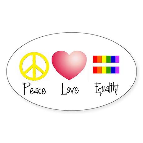 Peace, Love, Equality Oval Sticker