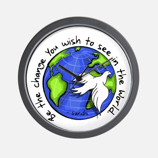 World Peace Gandhi - Funky Stroke Wall Clock