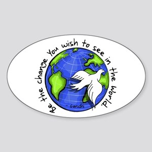 World Peace Gandhi - Funky Stroke Oval Sticker