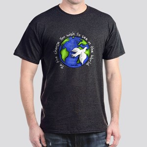 World Peace Gandhi - Funky Stroke Dark T-Shirt