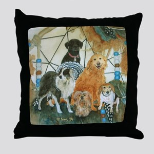 Dreamcatcher with 5 dogs Throw Pillow